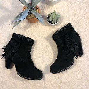 EUC Black Suede Booties with Fringe Detail